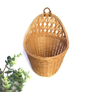 Wicker Rattan Wall Hanging Basket with Open Front